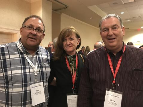 Tim Kohlsmith, PTW Energy Services, Annette Bewley, EMKAY and Greg Vercaigne, GDV Fleet Solutions, at the Canadian reception