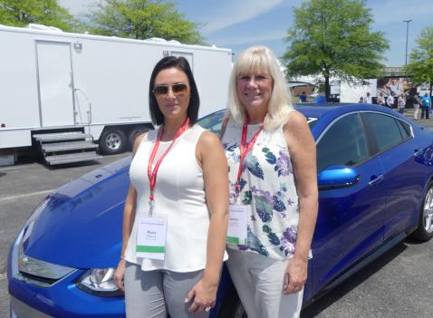 Marie Marra, Ricoh Canada and Janice Jucke, Addison Fleet about to test drive a Chevrolet Volt