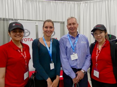 Lydia Chakrabarti and Esther Li, Toyota Canada flank Emily and Stephen Daub, Proax during the vendor fair