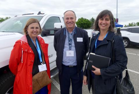 Pamela Blizzard (L) and Dana Greely, Purdue Pharma with Brian Reindeau, GM at the ride and drive