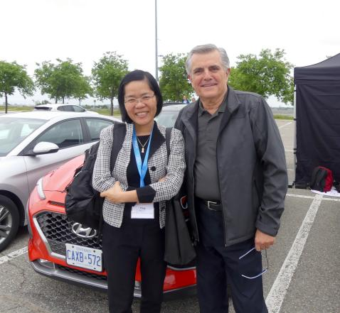 Thuy Nguyen, Atlas Copco Compressors Canada and Russ Seton, Hyundai Canada at the ride and drive