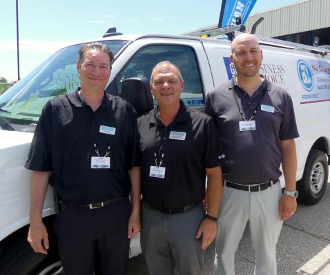 Chris Holley, Steve Patterson and Andrew Kingdon, Adrian Steel enjoy the sunshine at  upfitter alley
