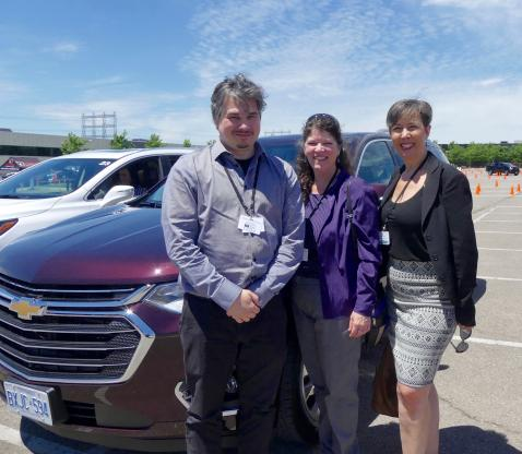 Dominic Houle, Lise Faubert and Louise Clune, Wheels, were among the many attendees familiarizing themselves with GM's  2019 lineup of SUV's