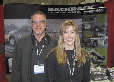 Garry Drouin, MTO, with Amy Kohler, Action by the Back Rack booth