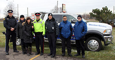 Members from the OPP, Toronto Police Service, CAA, and the Skid Control School were on hand at the event.