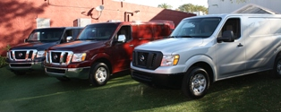 Selection of 2012 Nissan NV vehicles at launch in Miami, Florida